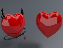 Red heart and devil red hearts with horns and tails Royalty Free Stock Photography