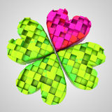 Red heart in dimensional cloverleaf composition Stock Image