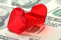 Red heart and dollar, love concept Stock Photography