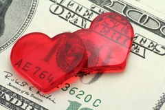 Red heart and dollar, love concept royalty free stock photography