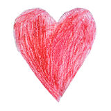 Red heart drawn by a child on white background Royalty Free Stock Images