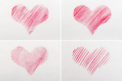 Red heart drawn on paper Royalty Free Stock Images