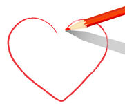 Red heart drawn with pencil Stock Photo
