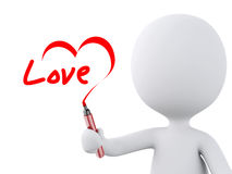 Red heart drawn by white people. Love concept Royalty Free Stock Photography