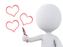Red heart drawn by white people. Love concept Royalty Free Stock Image