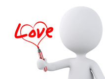 Red heart drawn by white people. Love concept Stock Images