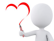 Red heart drawn by white people. Love concept Stock Photos