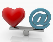 Red Heart and E-mail sign on seesaw. In backgrounds Stock Image