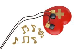 Red heart with earphone and notes 3d illustration. Red heart with earphone and notes 3d illustration vector illustration
