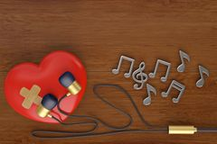 Red heart with earphone and notes 3d illustration. Red heart with earphone and notes 3d illustration stock illustration