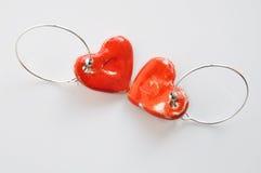Red heart earrings Stock Image