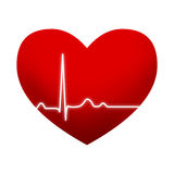 Red heart with EKG graph Royalty Free Stock Images