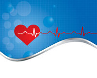 Red heart with ekg - medical design. Royalty Free Stock Photos