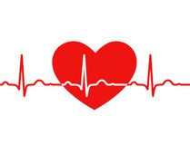 Red heart with ekg on white - medical design Stock Photography