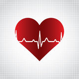 Red heart with ekg on white - medical design. Royalty Free Stock Photo