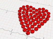 Red heart on electrocardiogram Royalty Free Stock Image