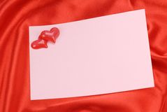 Red heart with empty note Stock Photo