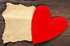 Red heart with empty note Royalty Free Stock Photography