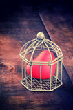 Red heart enclosed in cage Royalty Free Stock Photo