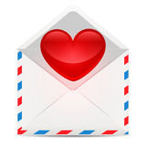 Red heart with envelope Royalty Free Stock Images