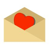 Red heart into envelope Stock Image