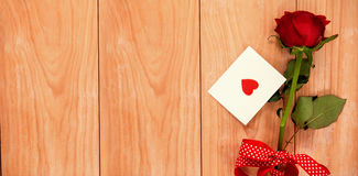 red heart envelope and a red rose Stock Photo
