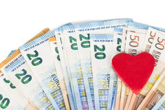 Red heart with Euro. euro banknotes. love and money Stock Images