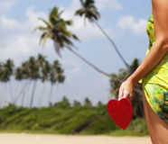red heart on exotic sandy beach - Valentine's day concept Royalty Free Stock Image