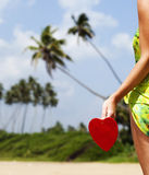 red heart on exotic sandy beach - Valentine's day concept Royalty Free Stock Images