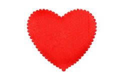Red heart from a fabric royalty free stock photography