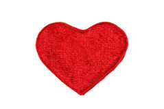 Red heart from a fabric Royalty Free Stock Image