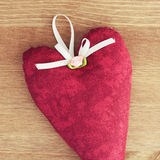Red heart of fabric Royalty Free Stock Photo