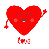 Red heart face head with hands. Cute cartoon kawaii smiling character. Valentines day sign symbol. Flat design style. Love text. G Royalty Free Stock Image
