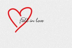 Red heart and Fall in love message Royalty Free Stock Photos