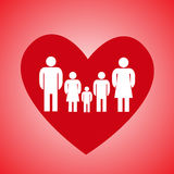 Red heart and family Stock Image