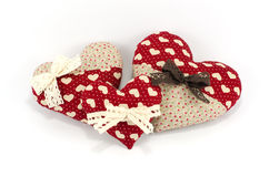 Red Heart family with white and brown bows on white background Royalty Free Stock Image