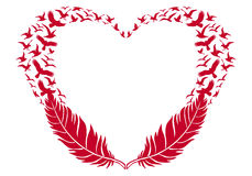 Red heart with feathers and flying birds, vector Royalty Free Stock Image