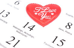 Red heart and February 14 in calendar Stock Photography