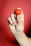 Red heart in female hand. Isolated on red background Stock Images