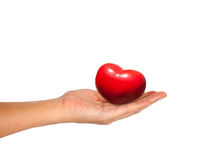 Red Heart in female hand isolated on white Stock Photos