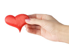 Red heart in female hands Royalty Free Stock Photos