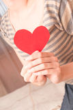 Red heart in female hands Royalty Free Stock Photo