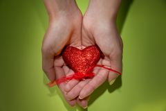 Red heart is in female hands on the green background. World Kindness Day
