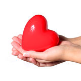 Red heart in female hands, isolated on white Stock Images