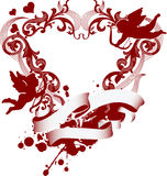 Red heart with filigree ornament and Cupid Royalty Free Stock Photo