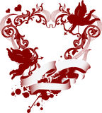 Red heart with filigree ornament and Cupid Royalty Free Stock Image