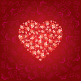 Red heart is filled. By colors of love Royalty Free Stock Photography