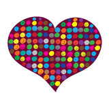 Red heart filled with colorful circles Royalty Free Stock Image