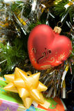 Red heart on fir branch Royalty Free Stock Photo