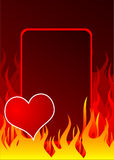 Red heart and fire. On the abstract background Royalty Free Stock Images